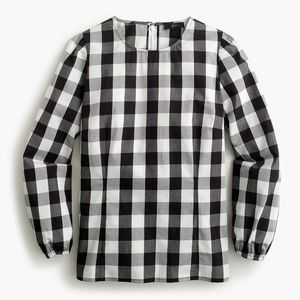 J.Crew Puff-sleeve top oversized gingham black 10